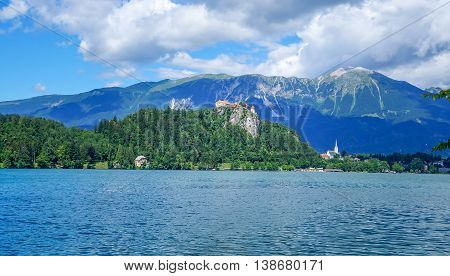 Bled Lake In Slovenia, View At Famous Castle