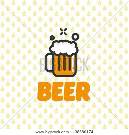 Flat, line mug of beer icon at malt background. Isolated, vector, eps10