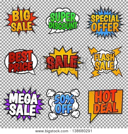 Set of nine sale tags. Pop art style, speech bubbles. Vector, isolated, eps 10