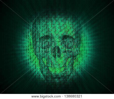 3D Illustration Of Virus Skull In Digital Code.