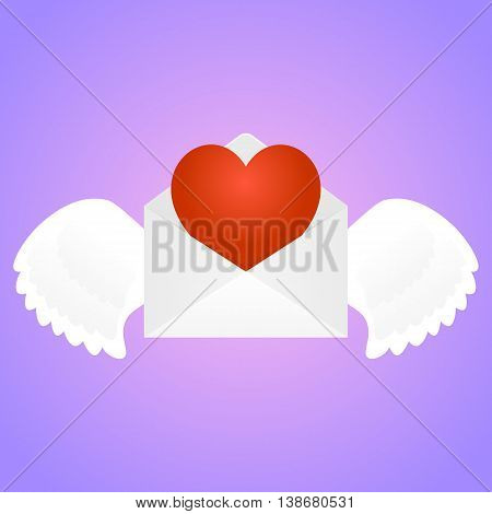 White envelope with wings and heart inside at pink gradient background. February 14, Saint Valentine s Day. Vector, isolated, eps 10.