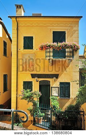 typical ligurian historic houses in Portofino Italy