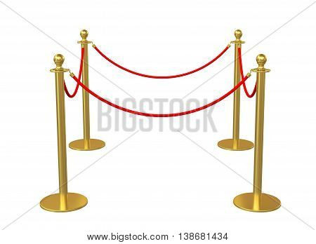 Barrier rope isolated on white. 3D illustration