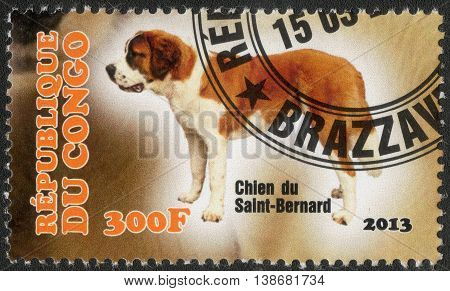 CONGO - CIRCA  2013: A post stamp printed in Congo shows a series of images St. Bernard