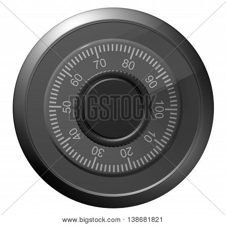 Safe combination lock. Knob with figures. Isolated on white. 3D illustration