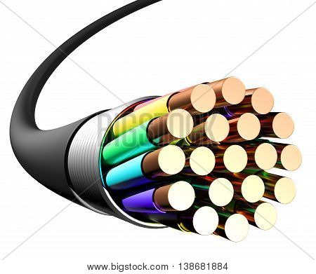 Electrical cable on white background. Close-up. 3D rendering