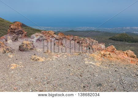 Aerial view from colorful slopes of Mount Etna at Sicily island Italy