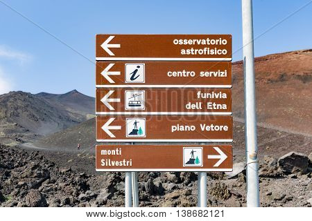 MOUNT ETNA ITALY - MAY 23: Notice board on Mount Etna on May 23 2016 at the island Sicily Italy