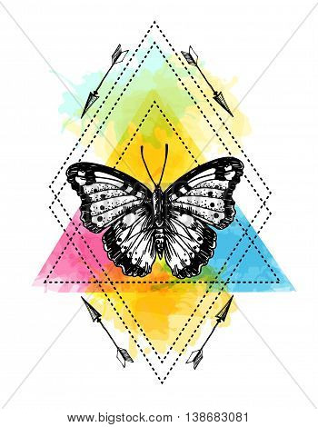 Beautiful hand drawn vector illustration sketching of butterflies. Boho style drawing. Use for postcards, print for t-shirts, posters, wedding invitation, tissue, linens