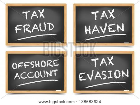 detailed illustration of tax fraud concepts on a blackboard, eps10 vector, gradient mesh included
