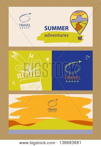 Design Logo Of Cruise Travel. Hand Drawn Silhouettes Of Aircraft