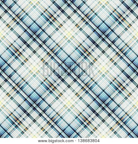 Checkered blue seamless pattern of interwoven multi-colored thin strips. Motley abstract symmetrical pattern.