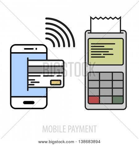 minimalistic illustration of a cellphone next to a pos terminal, mobile payment concept, eps10 vector