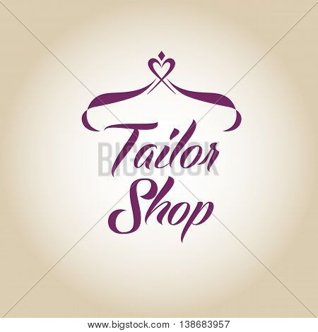 Vector Logo On Color Gradient Background For Salon Tailoring. Il