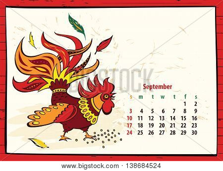 Calendar Of 2017 Chinese New Year Of The Rooster. Month Septembe