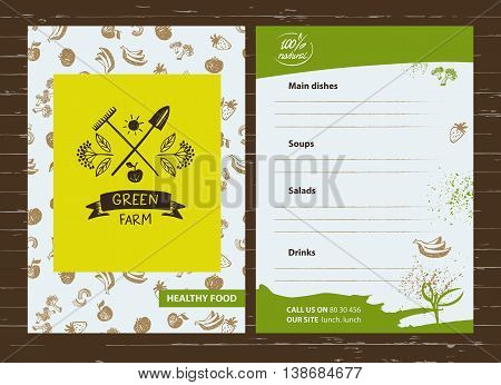 Green Farm. Menu For Agriculture, Horticulture. Branch With Berr