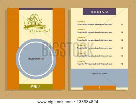 Organic Food. Menu For Agriculture, Horticulture. Rural Landscap