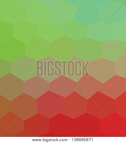 Kaleidoscopic low poly red and green  hexagon style vector mosaic baground