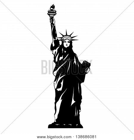 Statue Liberty Black And White New York Vector Silhouette