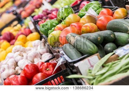 a fresh raw different vegetables in market