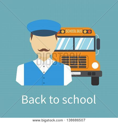 Driver of the school bus. Driver with bus icon. Delivery of children in school. Vector illustration flat design style. Banner poster back to school.
