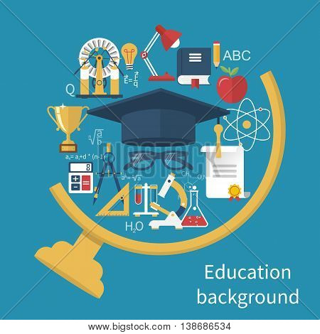 Education and learning concepts. Abstract globe with icons and signs. Flat design vector illustration. Education background.