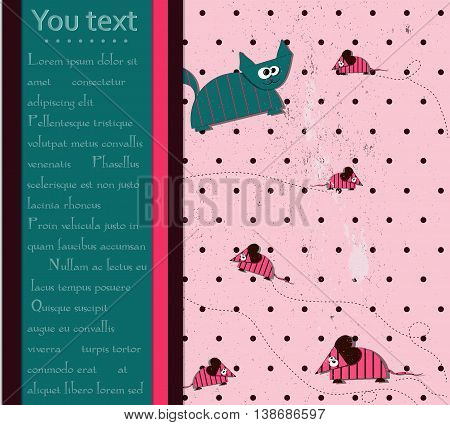 Seamless polka dot background with cat and mouse. vector eps10