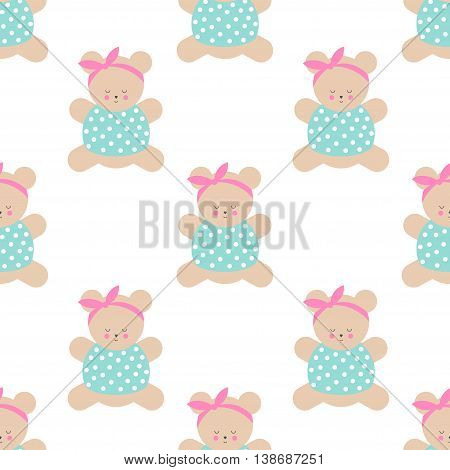 Teddy bear seamless pattern. Cute cartoon girl teddy bear vector illustration on white background. Baby shower background. Fashion design for textile, wallpaper, web, fabric, decor etc