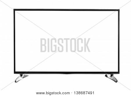 Blank flat screen TV set. Isolated on white background.