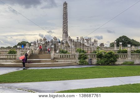 OSLO, NORWAY - JULY 1, 2016: This is world-famous Vigeland sculpture park the Monolith plateau.
