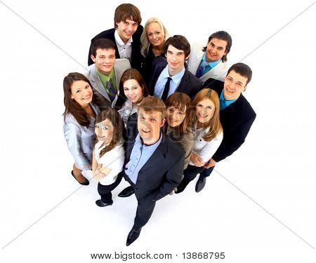 Retrato de sorrindo empresários contra o fundo branco