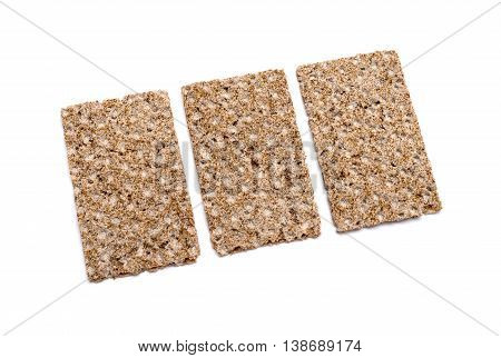 Group of crispbreads isolated on white background