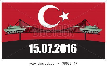 Turkey military coup. Military equipment. Tank against the background sign ban