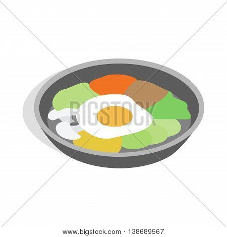 Korean national dish bibimbap icon in isometric 3d style isolated on white background
