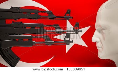 3d render: automatic rifles aimed at the man on a background of Turkish flag