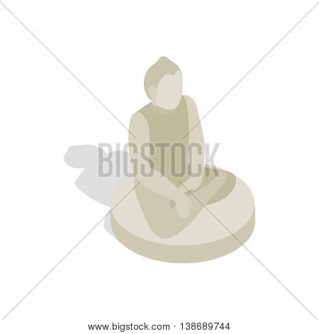 Statue of Buddha icon in isometric 3d style isolated on white background