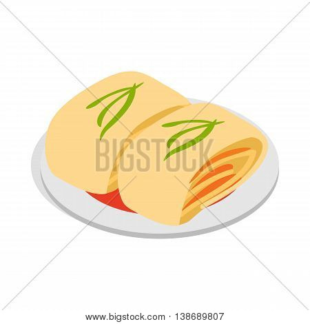 Kimchi, traditional korean food icon in isometric 3d style isolated on white background