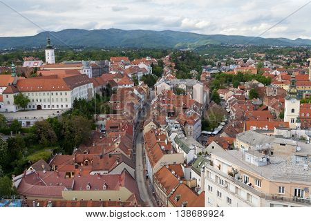 ZAGREB, CROATIA - APRIL 26th, 2016: Panoramic view of St. Mark's Church on upper town in Zagreb, capital of Croatia
