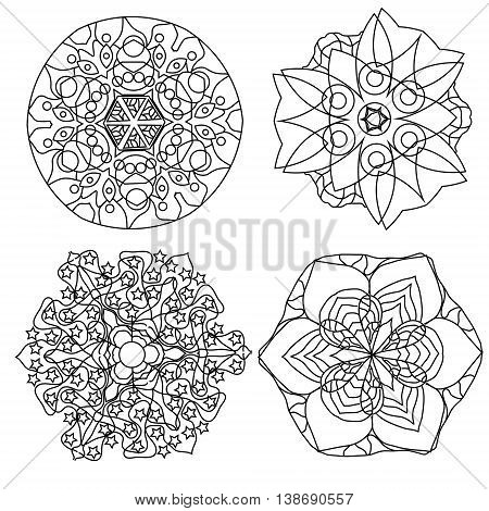 Relaxing coloring page with vector mandala or fantasy flowers for kids and adults art therapy meditation coloring book vector illustration printable sheet abstract background design elements