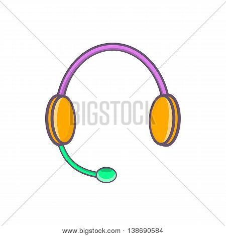 Headphones with microphone icon in cartoon style isolated on white background. Listen symbol