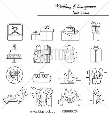 Wedding marriage engagement honeymoon vector line icons set. Bridal and groom theme. Isolated design elements.