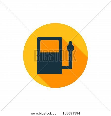 Vector illustration of gas station icon in yellow circle with long shadow