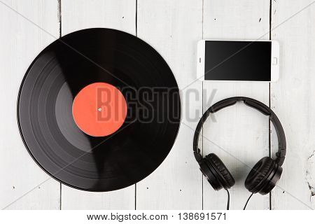 Vintage Record Lp, Smartphone And Headphones