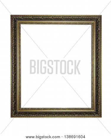 Gold picture frame. isolated on a white.