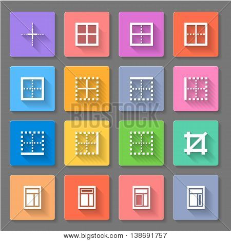Set of colourful icons with splitter window