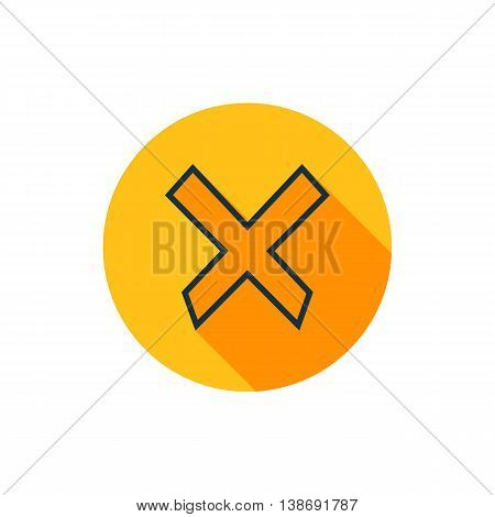 Vector illustration of cancel icon in yellow circle with long shadow