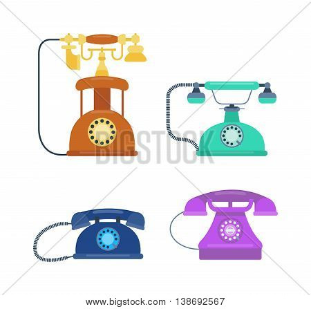 Old vintage phone and icons antique vector illustration isolated