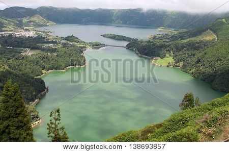 Azores' gorgeous Seven Cities lagoons, in Sao Miguel island volcanic landscape