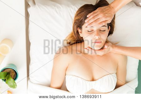 Woman In Reiki Session, Seen From Above