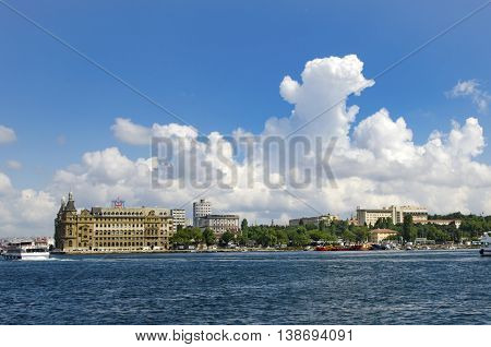 Turkey Istanbul historic Haydarpasa train station and the unusual white clouds